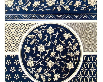 Ancient Chinese Ornament Design - Blue and White Various Objects - 1987 Vintage Book Page - 9 x 13