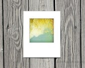 Yellow and Blue Decor, Nature Photography, Shabby Chic Decor, Spring Decor, Tree, Clouds, White - 5x5 inch Print Matted to 8x10 -Willow
