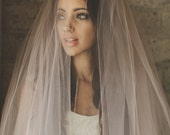 Ombre Hand Dyed Blush Pink Bridal Veil ( Cathedral, Blusher, Double Tier, Elbow, Finger Tip ) by Ouma