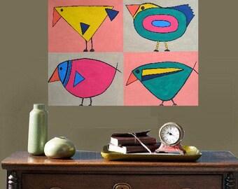 """4 abstract Birds - original painting, contemporary, 14.2 x 9,4"""", 36 x 24 cm, gouache, paper, animal, bird, fantasy"""