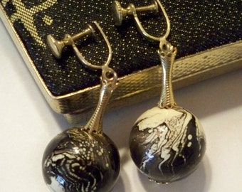 Black & White Earrings, Vintage Globe Dangle Earrings, Screw Back Earrings, Black White Swirly Globe Earrings, Mother's Day Gifts for Women