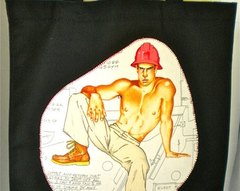 Hard Hat Hot Guy Shopping Bag, Applique Reusable Tote