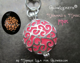 Mermaid's Magic Glow Locket Pink Silver Pendant Necklace Glowie