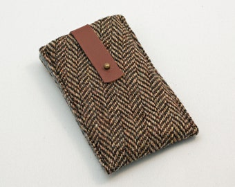 iphone sleeve - brown herringbone tweed recycled suit