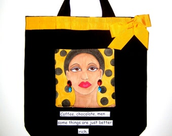 MAYA GIRLFRIEND TOTE, hand painted tote, shoe tote, fashionista tote, Fall tote, marigold yellow, fun quote, gift for girlfriend,