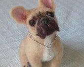 Felt Miniature of your Pet / Custom Pet Portrait / Needle Felted Dog / handmade by Gourmet Felted / example French Bulldog /  Gift Idea Pets