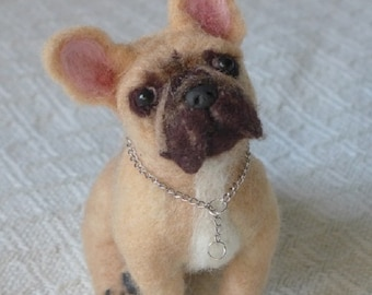 Felt Miniature of your Pet / Custom Pet Portrait / Needle Felted Dog / handmade by Gourmet Felted/ Frenchie / Gift Idea Pets