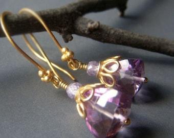 Pink Amethyst Earrings, Gold Vermeil, Quartz Gemstone Trillion Dangle Earrings, Sparkle Lavender Earrings