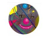 Lisa Frank Mylar Clown Face Sticker 80's Vintage 1982 foil