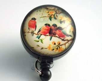 Magnetic Badge Holder - Birds on a Branch Photo Glass with Black Badge Reel