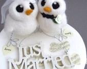 Love Birds Wedding Cake Topper White Wedding Bride and Groom Needle Felted Birds