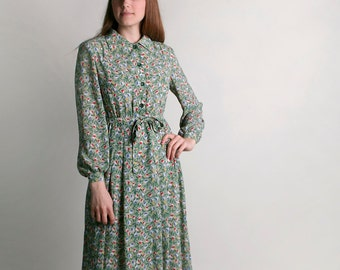 Vintage Floral Dress - Spring Mint Green Tulip Print Dress - Large