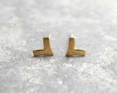 Tiny Unisex Earrings, Chevron Earring Studs, Arrow Earrings, Unisex Earrings, Triangle Geometric Minimalist, Sterling Silver Hypoallergenic