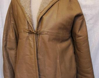 SALE WAS 95.00 Vintage 1960's Bonnie Cashin Leather Jacket with Faux Sheepskin Lining