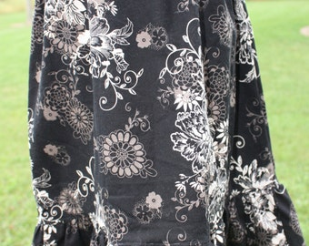 Skirt Size 16 Black with cream and tan florals