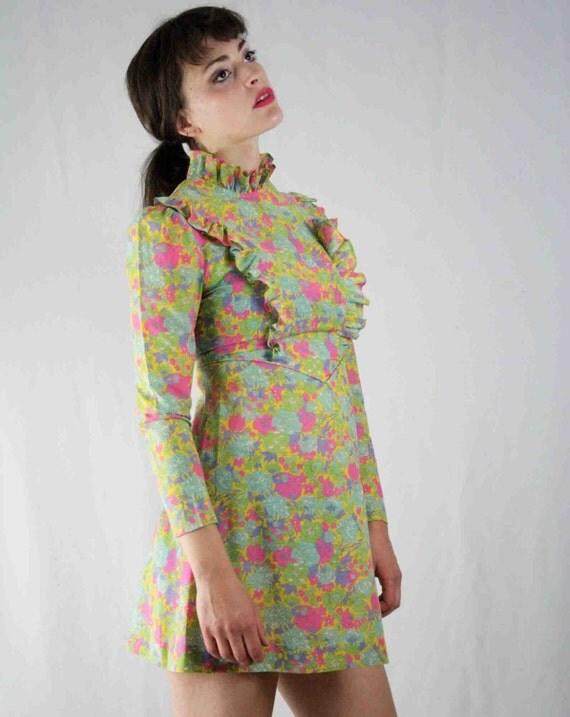 Dollyrockers Liberty of London 60's Vintage Rare Floral Ruffle Mini Dress