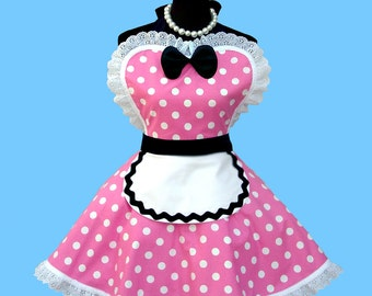 """French Maid Costume Apron - Women's Apron """" Pink French Maid """" Costume Womens  Retro Diner Costume Apron MADE TO ORDER"""