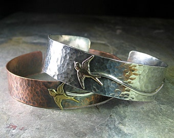 Bird cuff sterling silver copper hammered swallow metalwork metalsmith - Soar Like a Bird