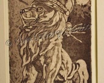 Band hat Lion statue Spiders still life Original Fine Art Hand Pulled Print Kim Loberg Nebraska Artist EBSQ