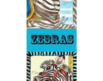 Zebra scream carousel equine Art Bookmark PRINT Kim Loberg Wild animal Zoo EBSQ