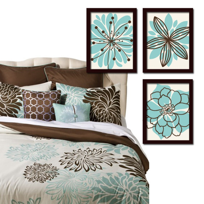 Aqua Brown Wall Art Bedroom Canvas Or Prints Bathroom