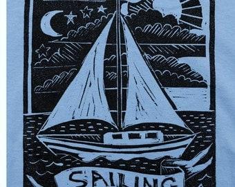 Sailing - Men's Tshirt on Blue - Size Large
