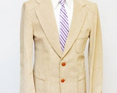 Men's Blazer / Rugged Linen Vintage Jacket / Size 42 Large