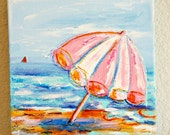 Funky Beach Umbrella by the Sea Original Mixed Media Art on 8 x 8 Canvas Original Acrylic Painting Art