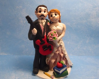 Musician and Teacher Wedding Cake Topper,Custom wedding cake topper, Bride and groom cake topper, personalized topper,custom cake topper