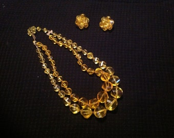 Vintage 1960s Era Sunshine Yellow Bead Double Strand Adjustable Necklace and Matching Clip On Earrings
