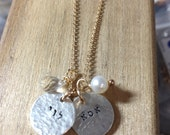 necklace of the day -  2 discs in Hebrew or English  -  Beautiful & Elegant - handmade handstamped by SIMAG
