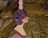 Vintage Style Flapper Half Doll Hat Stand Lilac Pink