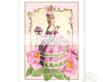 Marie Antoinette, print, pink, roses, garden party, high tea, French, floral frame, home decor, wall art, vintage illustration