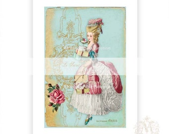 Marie Antoinette, print, Paris, Le Secret , pink roses, robins egg blue, teacup, French, home decor, vintage illustration, collage print