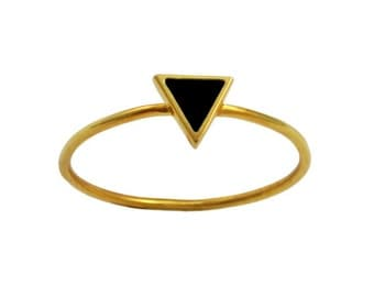 Black Triangle Enamelled Modern Gold Ring // Geometric Setting on a Thin, Dainty Gold Vermeil Band // Choose Your Accent Color