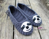 On Sale!! Crocheted Sloth House Slippers - Mary Jane Style - Teen/Adult - MADE TO ORDER