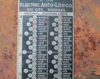 Vintage Promotional Giveaway - Advertisement  for Bay MFG.  Metal Decimal Equivalent Chart -  1960s