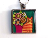 Cat Pendant/ Orange Ginger Tabby Jewelry in Silver Setting by Susan Faye