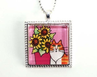 Cat Necklace SALE/ Orange and White Ginger Cat with Sunflowers/ Glass Jewelry by Susan Faye