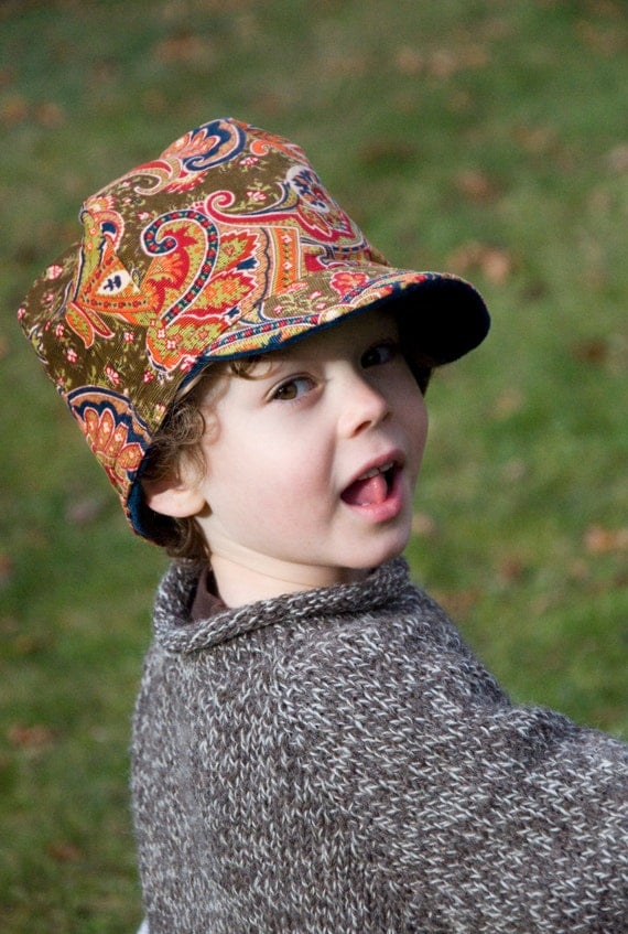 Winter Hat - 5 to Pre Teen - Boys Girls Cozy Cap -  Pinwale Cotton Corduroy and Velvet Fleece Lined