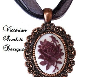 SALE Romantic Streampunk Pendant Necklace with Cameo of Neo Victorian Rose Burgundy Antiqued Copper Filigree