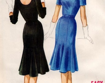 Vintage McCalls 5663 Easy to Sew  Tulip Skirt Boat Neck Dress Sewing Pattern  Size 12 Bust 32