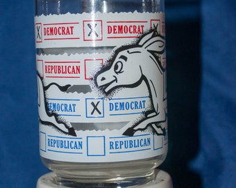Vintage Political Donkey Democrat Glass