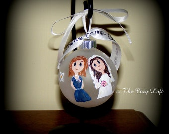 Mother of the Bride or Mother of the Groom Gift Christmas Ornament Decor, Hand Painted Original Art Personalized Wedding Customized Keepsake