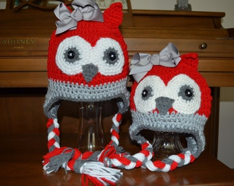 Ohio Team Color Owl Earflap Hat - All Sizes Available - Newborn to Adult Female