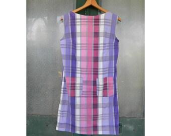Vintage Purple & Pink Plaid Summer Cotton Shift Dress