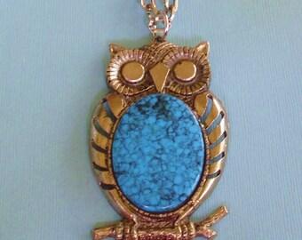 Large Turquoise Owl Pendant Necklace Vintage