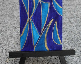 ACEO Original Abstract Blue Shapes