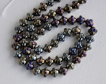 Czech Glass 7mm AB Mulberry Saturn Beads 50pc Cathedral Glass Beads