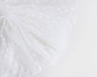 "Ivory spot tulle fabric - 44"" wide - sold per metre"